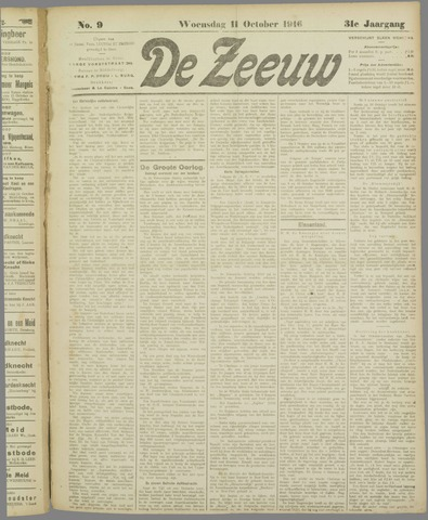 De Zeeuw. Christelijk-historisch nieuwsblad voor Zeeland 1916-10-11