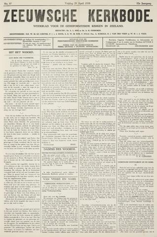 Zeeuwsche kerkbode, weekblad gewijd aan de belangen der gereformeerde kerken/ Zeeuwsch kerkblad 1938-04-29