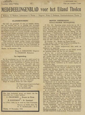 Eendrachtbode (1945-heden)/Mededeelingenblad voor het eiland Tholen (1944/45) 1944