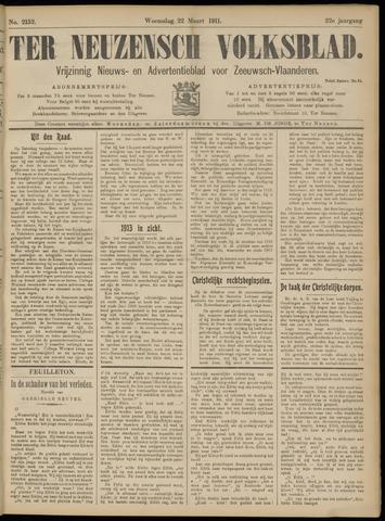 Ter Neuzensch Volksblad. Vrijzinnig nieuws- en advertentieblad voor Zeeuwsch- Vlaanderen / Zeeuwsch Nieuwsblad. Nieuws- en advertentieblad voor Zeeland 1911-03-22