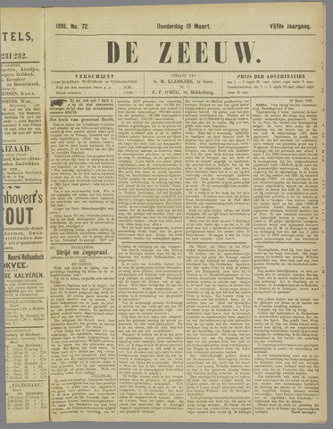 De Zeeuw. Christelijk-historisch nieuwsblad voor Zeeland 1891-03-19