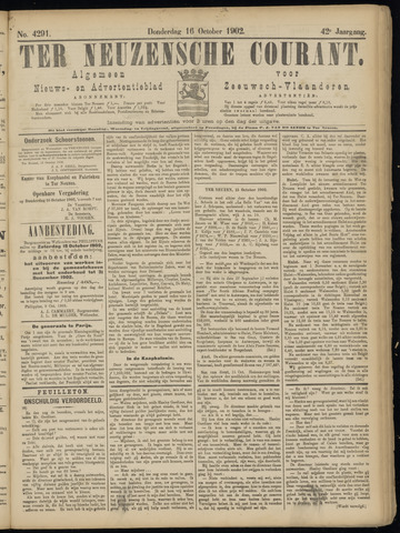 Ter Neuzensche Courant. Algemeen Nieuws- en Advertentieblad voor Zeeuwsch-Vlaanderen / Neuzensche Courant ... (idem) / (Algemeen) nieuws en advertentieblad voor Zeeuwsch-Vlaanderen 1902-10-16