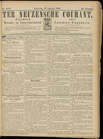 Ter Neuzensche Courant. Algemeen Nieuws- en Advertentieblad voor Zeeuwsch-Vlaanderen / Neuzensche Courant ... (idem) / (Algemeen) nieuws en advertentieblad voor Zeeuwsch-Vlaanderen 1905-08-10