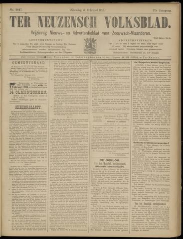 Ter Neuzensch Volksblad. Vrijzinnig nieuws- en advertentieblad voor Zeeuwsch- Vlaanderen / Zeeuwsch Nieuwsblad. Nieuws- en advertentieblad voor Zeeland 1916-02-05