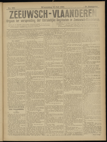 Luctor et Emergo. Antirevolutionair nieuws- en advertentieblad voor Zeeland / Zeeuwsch-Vlaanderen. Orgaan ter verspreiding van de christelijke beginselen in Zeeuwsch-Vlaanderen 1920-07-14