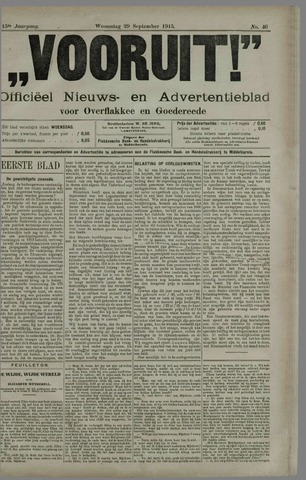 """""""Vooruit!""""Officieel Nieuws- en Advertentieblad voor Overflakkee en Goedereede 1915-09-29"""