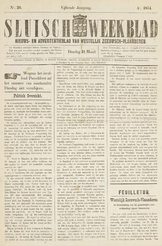 Sluisch Weekblad. Nieuws- en advertentieblad voor Westelijk Zeeuwsch-Vlaanderen 1874-03-31