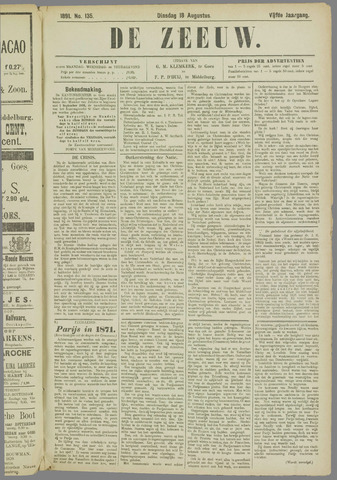 De Zeeuw. Christelijk-historisch nieuwsblad voor Zeeland 1891-08-18