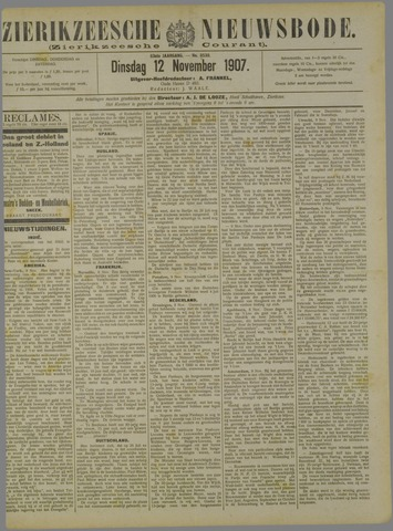 Zierikzeesche Nieuwsbode 1907-11-12