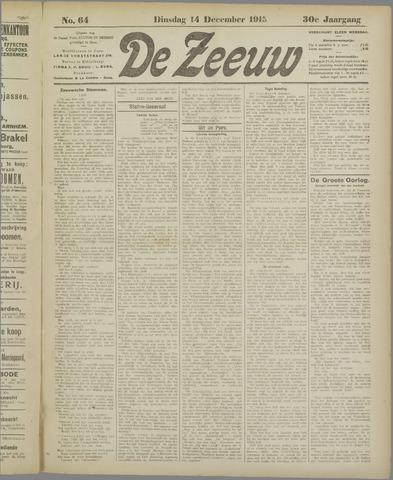 De Zeeuw. Christelijk-historisch nieuwsblad voor Zeeland 1915-12-14