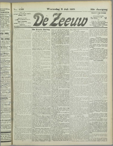 De Zeeuw. Christelijk-historisch nieuwsblad voor Zeeland 1918-07-03