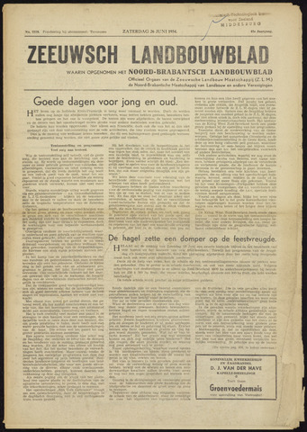 Zeeuwsch landbouwblad ... ZLM land- en tuinbouwblad 1954-06-26