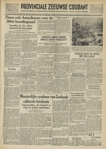 Provinciale Zeeuwse Courant 1950-10-09