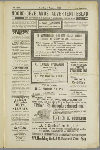 Noord-Bevelands Nieuws- en advertentieblad 1929-08-31