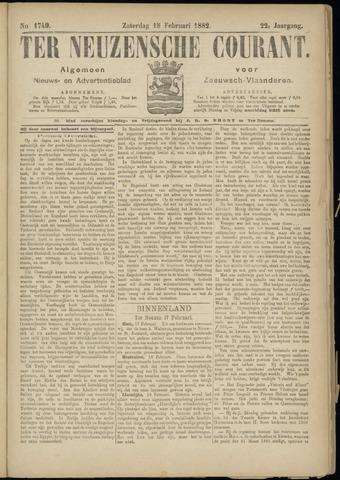 Ter Neuzensche Courant. Algemeen Nieuws- en Advertentieblad voor Zeeuwsch-Vlaanderen / Neuzensche Courant ... (idem) / (Algemeen) nieuws en advertentieblad voor Zeeuwsch-Vlaanderen 1882-02-18