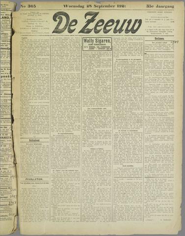 De Zeeuw. Christelijk-historisch nieuwsblad voor Zeeland 1921-09-28