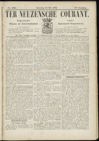Ter Neuzensche Courant. Algemeen Nieuws- en Advertentieblad voor Zeeuwsch-Vlaanderen / Neuzensche Courant ... (idem) / (Algemeen) nieuws en advertentieblad voor Zeeuwsch-Vlaanderen 1878-05-11