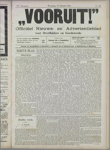 """""""Vooruit!""""Officieel Nieuws- en Advertentieblad voor Overflakkee en Goedereede 1911-02-15"""