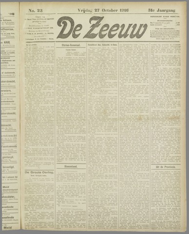 De Zeeuw. Christelijk-historisch nieuwsblad voor Zeeland 1916-10-27
