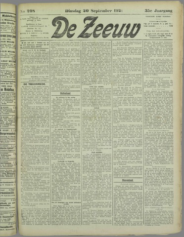 De Zeeuw. Christelijk-historisch nieuwsblad voor Zeeland 1921-09-20