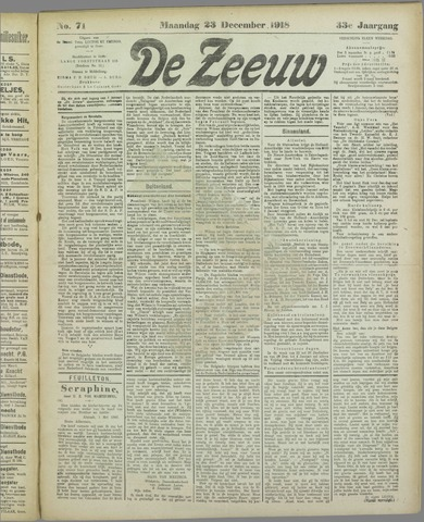 De Zeeuw. Christelijk-historisch nieuwsblad voor Zeeland 1918-12-23