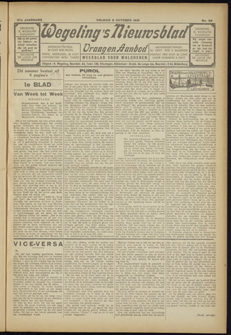 Zeeuwsch Nieuwsblad/Wegeling's Nieuwsblad 1931-10-02