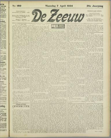 De Zeeuw. Christelijk-historisch nieuwsblad voor Zeeland 1924-04-07
