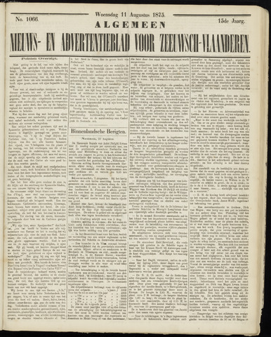 Ter Neuzensche Courant. Algemeen Nieuws- en Advertentieblad voor Zeeuwsch-Vlaanderen / Neuzensche Courant ... (idem) / (Algemeen) nieuws en advertentieblad voor Zeeuwsch-Vlaanderen 1875-08-11