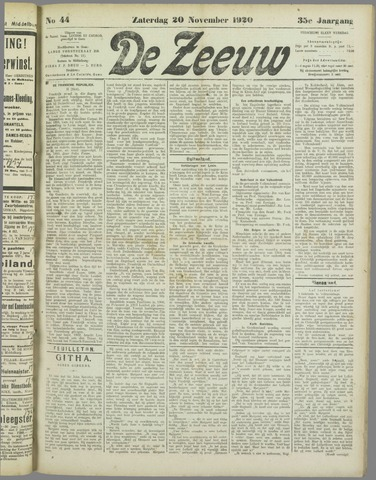 De Zeeuw. Christelijk-historisch nieuwsblad voor Zeeland 1920-11-20