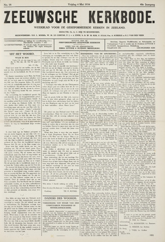 Zeeuwsche kerkbode, weekblad gewijd aan de belangen der gereformeerde kerken/ Zeeuwsch kerkblad 1934-05-04