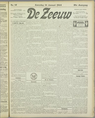 De Zeeuw. Christelijk-historisch nieuwsblad voor Zeeland 1924-01-12