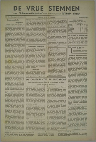 Vrije Stemmen van Schouwen-Duiveland, tevens mededeelingenblad Militair Gezag 1945-12-08