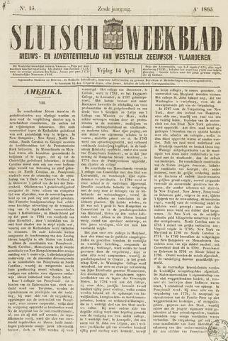 Sluisch Weekblad. Nieuws- en advertentieblad voor Westelijk Zeeuwsch-Vlaanderen 1865-04-14