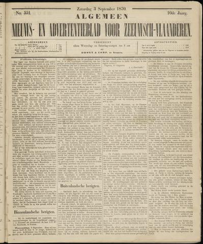 Ter Neuzensche Courant. Algemeen Nieuws- en Advertentieblad voor Zeeuwsch-Vlaanderen / Neuzensche Courant ... (idem) / (Algemeen) nieuws en advertentieblad voor Zeeuwsch-Vlaanderen 1870-09-03