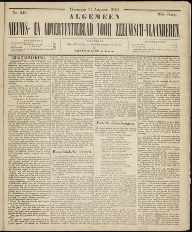 Ter Neuzensche Courant. Algemeen Nieuws- en Advertentieblad voor Zeeuwsch-Vlaanderen / Neuzensche Courant ... (idem) / (Algemeen) nieuws en advertentieblad voor Zeeuwsch-Vlaanderen 1870-08-17
