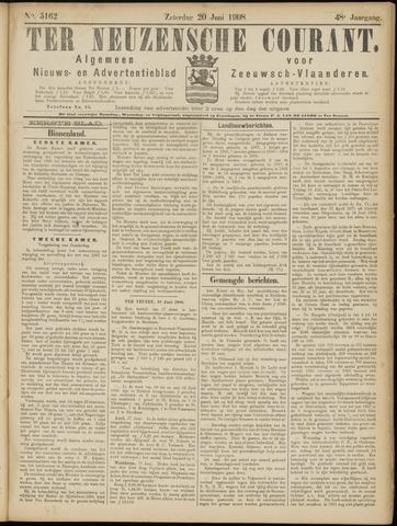 Ter Neuzensche Courant. Algemeen Nieuws- en Advertentieblad voor Zeeuwsch-Vlaanderen / Neuzensche Courant ... (idem) / (Algemeen) nieuws en advertentieblad voor Zeeuwsch-Vlaanderen 1908-06-20