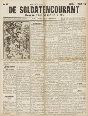 De Soldatencourant. Orgaan voor Leger en Vloot 1915-03-07
