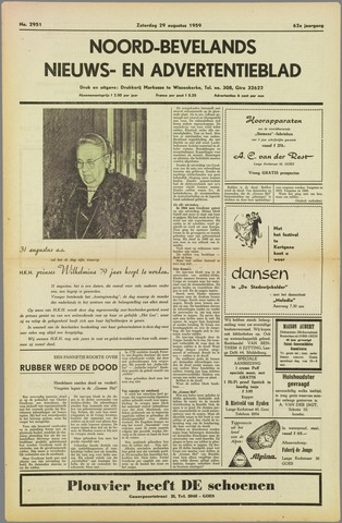 Noord-Bevelands Nieuws- en advertentieblad 1959-08-29