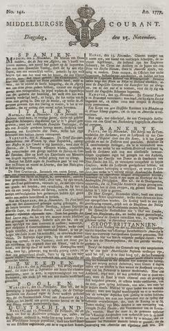 Middelburgsche Courant 1777-11-25