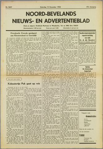 Noord-Bevelands Nieuws- en advertentieblad 1953-12-12