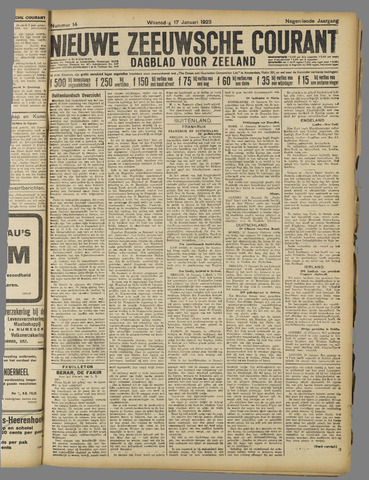 Nieuwe Zeeuwsche Courant 1923-01-17