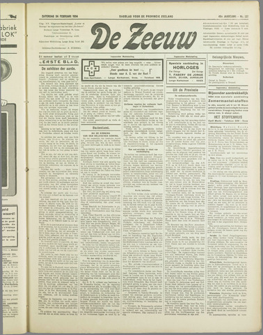 De Zeeuw. Christelijk-historisch nieuwsblad voor Zeeland 1934-02-24