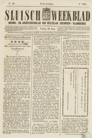 Sluisch Weekblad. Nieuws- en advertentieblad voor Westelijk Zeeuwsch-Vlaanderen 1865-06-16