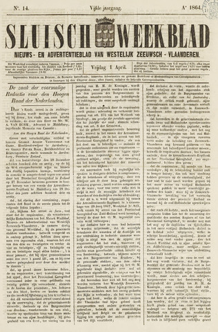 Sluisch Weekblad. Nieuws- en advertentieblad voor Westelijk Zeeuwsch-Vlaanderen 1864-04-01