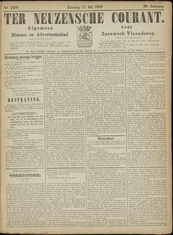Ter Neuzensche Courant. Algemeen Nieuws- en Advertentieblad voor Zeeuwsch-Vlaanderen / Neuzensche Courant ... (idem) / (Algemeen) nieuws en advertentieblad voor Zeeuwsch-Vlaanderen 1886-07-17