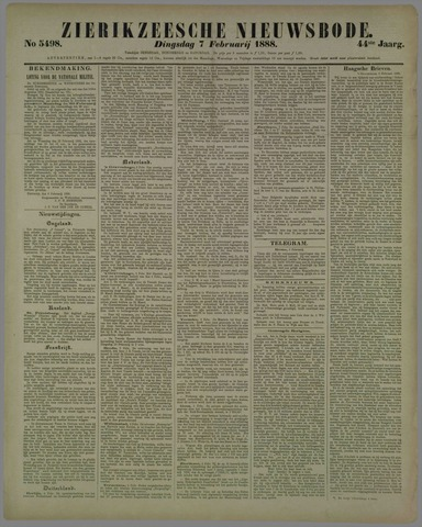 Zierikzeesche Nieuwsbode 1888-02-07