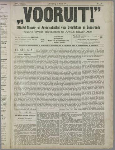 """""""Vooruit!""""Officieel Nieuws- en Advertentieblad voor Overflakkee en Goedereede 1917-06-09"""