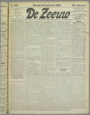 De Zeeuw. Christelijk-historisch nieuwsblad voor Zeeland 1920-09-28