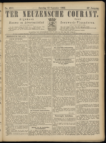 Ter Neuzensche Courant. Algemeen Nieuws- en Advertentieblad voor Zeeuwsch-Vlaanderen / Neuzensche Courant ... (idem) / (Algemeen) nieuws en advertentieblad voor Zeeuwsch-Vlaanderen 1902-09-13