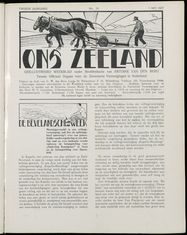 Ons Zeeland / Zeeuwsche editie 1927-05-07